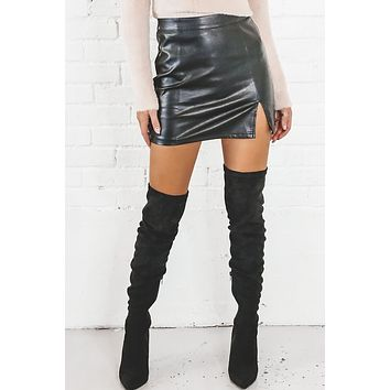 Let's Go Girls Leather Mini Skirt