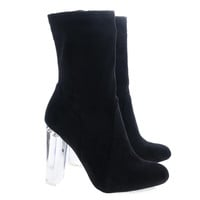 Blossom22 Black Above Ankle Dress Booties w Clear See Through Acrylic Lucite Block Heel
