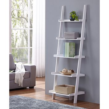 "White Finish 5 Tier Bookcase Shelf Ladder Leaning - 72"" Height"