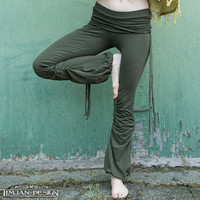 Sale - ORGANIC YOGA PANTS - Athletic Faery - Casual cotton lycra trousers - Sports wear - Hippie - Green Dark Army- Small