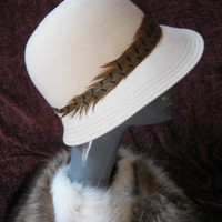 Light cream felted wool cloche style hat with by lovinglola