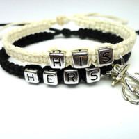 Bracelets for Couples, His Hers, Anchor Charms, Black and White Hemp