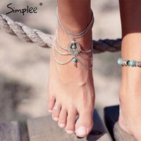 BOHO Beach Ankle Jewelry/ Chains and Stones by SIMPLEE