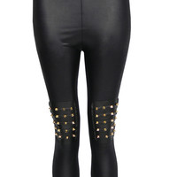 Paisley Wet Look Legging with Spike Knee Pads