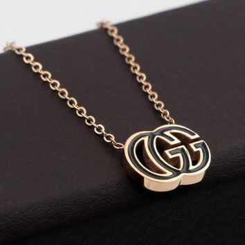 GUCCI Stylish Women Men Black Double G Letter Collarbone Chain Necklace Accessories Jewelry