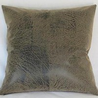 Brown Faux Leather Pillow Cover