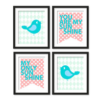 Nursery art, you are my sunshine song, love and two birds ,pink polka dots, blue diamonds, 4 x (choose size)