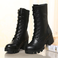 Fall Leather High Heels Lace Up Short Martin Boots