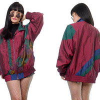 vintage 90s colorblock windbreaker jacket vivid satin burgundy maroon bomber ski jacket new wave large