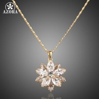 AZORA Sunflow Design Gold Color Gold Stellux Austrian Crystals Paved Pendant Necklace TN0003