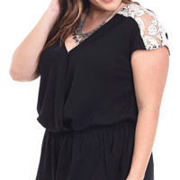 Plus Size Crochet Trim Surplice Romper
