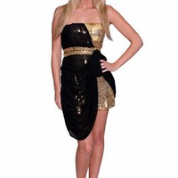 Sexy Two Tone Golden Sequins Black Mesh Mini Party Prom Dress