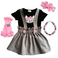 Cat Glasses Gray Jumper Outfit Pink Buttons Top And Skirt