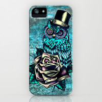 Tattoo style owl with top hat and rose. Rockabilly style.  iPhone & iPod Case by Kristy Patterson Design