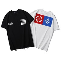 LV 2019 new classic old flower logo letter printing round neck loose half sleeve t-shirt