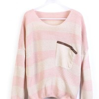 Pink  Stripes Loose Sweater with Pocket$30.00