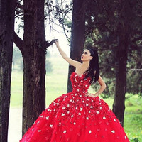 Red Ball Gown Evening Dresses with Flowers Applique Floor Long Sweetheart Off the Shoulder Prom Dress Robe Rouge Alternative Measures - Brides & Bridesmaids - Wedding, Bridal, Prom, Formal Gown