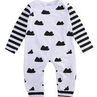 Newborn Infant Baby Girl Boy Long Sleeve Clothes Striped Patchwork Romper Jumpsuit Outfits