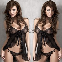 Cute On Sale Hot Deal Black Sexy Lace Spaghetti Strap Dress Set Exotic Lingerie [6594736643]