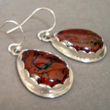 Handmade Gemstone Earrings with Brecciated Jasper Gemstones and Sterling Silver - Fine Jewelry
