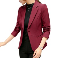 Women's Blazer 2019 Red Long Sleeve Blazers Pockets Jackets Coat Slim Office Lady Jacket Female Tops Suit Blazer Femme Jackets