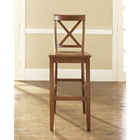 Set of 2 - X-Back Solid Wood 30-inch Bar Stool in Cherry Finish