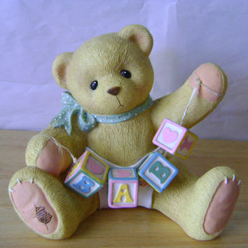 Sale- Vintage Nursery Bear Baby With ABC Blocks and Diaper Boy Girl Bank Gift Capsteam Epsteam