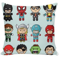 Superheroes on a pillow
