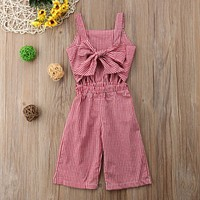 Baby Girls Plaid Romper Trousers