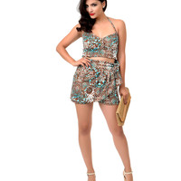 Retro Style Teal & Brown Tiki Print High Waist Mari Shorts