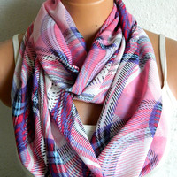 Pink, Infinity Scarf,Loop Scarf,Circle Scarf, Striped Chiffon Scarf,Cowl Scarf,Nomad Cowl.... Multicolor, Eternity Scarf