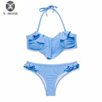 2018 Women Ruffle Bikini Set Bandeau Push up Padded Swimsuit Blue Falbala Brazilian Cheeky Bottom Swimwear Bathing Suits Female