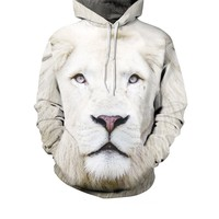 Casual Cool Lion Printed Kangaroo Pocket Men Hoodie