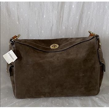 NWT Coach Taupe Suede Leather Hobo Bag