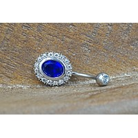 Sapphire Blue Crystal Belly Button Ring