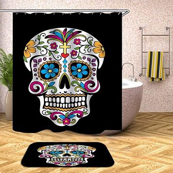 Sugar Skull Waterproof Polyester Fabric Shower Curtain