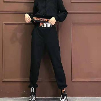 """PUMA"" Woman Leisure Fashion Wild Letter Printing Zipper Hooded Long Sleeve Coat Elastic Band Trousers  Two-Piece Set Casual Wear"