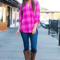 Party In Plaid Top, Pink