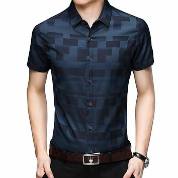 Short Sleeve Shirt Men Clothes Summer Mens Shirts Casual Slim Fit Plaid Camisa Masculina Cotton Chemise Homme