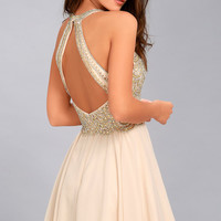 Congratulations Pale Pink Beaded Skater Dress