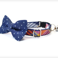 "Bow Tie Cat Collar Set - ""Weekend"" - Navy Plaid Collar + Denim Chambray Mini Dot Detachable Bow Tie"