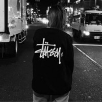 """""""Stussy"""" Personality thickening contracted printing restoring ancient ways round neck sweaters Black"""