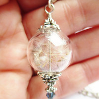 Real Dandelion Seed Glass Orb Necklace In Silver Small Orb