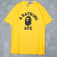 Bape Aape Summer Fashion Casual Shirt Top Blouse Yellow