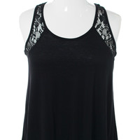 Plus SIze Knitted Lace Yoke Black Top, Plus Size Clothing, Club Wear, Dresses, Tops, Sexy Trendy Plus Size Women Clothes