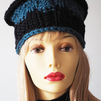 Teal hat - Hand knit hat - Chunky knit pillbox - Blue crochet toque - Woman winter cloche - Teen girl hat - Fall accessories - Fall fashion