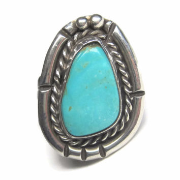 Vintage 1950s Navajo Sterling Turquoise Ring Size 7