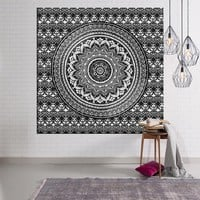New Mandala Tapestry Indian Compass 3D Black And White Elephant Bohemian Rectangular Tapestry Wall Hanging Mandala tapiz