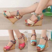 Women Ankle Strap Peep Toe Pumps Floral High Heel Wedges Sandals Slingback Shoes