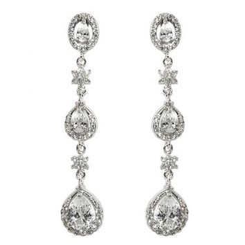 Alina Pear Drop Dangle Chandelier Earrings | 55mm